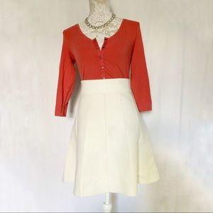 Ann Taylor // Ivory Sweater Skater Skirt M